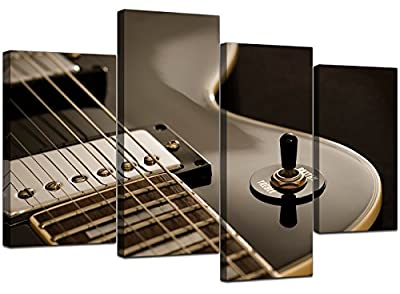 Large Black Electric Guitar Canvas Wall Art Pictures XL Prints 4125 - inexpensive UK canvas store.