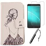 Lankashi Back Girl Design 3in1 Zubehör Set PU Flip Leder