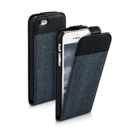 kwmobile Hülle für Apple iPhone SE / 5 / 5S - Flip Case Handy Schutzhülle Kunstleder - Flipcover Cover Schwarz .Dunkelgrau Schwarz