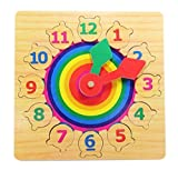 #7: Emob Wooden Number & Time Learning Clock Educational Toy for Kids