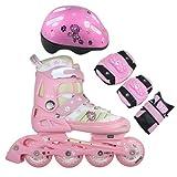 FA Sports Inline Skates-Set für Kinder mit Bremse, Pink, Weiß, Creme, Schwarz, Small