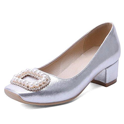 AgooLar Damen Ziehen Auf Quadratisch Zehe Mittler Absatz Pu Leder Eingelegt Pumps Schuhe Silber