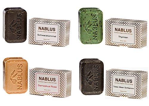 Nablus Soap natürliche Olivenölseife 4er Set (4 x 100g) Totes Meer Schlamm Damaskus Rose Thymian Schwarzkümmel, für sensible Haut, handgemacht und palmölfrei, aus 80% extra nativem Olivenöl - Thymian Dusche