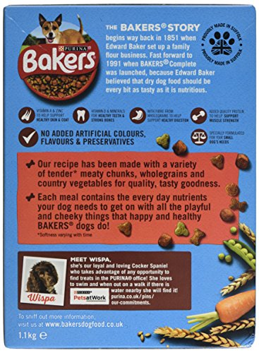 Bakers Complete Dog Food Small Dog Tender Meaty Chunks Tasty Chicken and Country Vegetables, 2.7 kg - Pack of 4 5