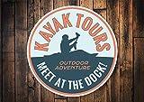 "Kayak Tour Sign, Kayak Tours, Kayak Lover Sign, Kayak Signs, Kayak Rivers, Kayak Owners, Beach Gift, Metal Custom Beach - Metal Sign, Aluminum Tin Plaque Wall Art Poster 12""x12"""