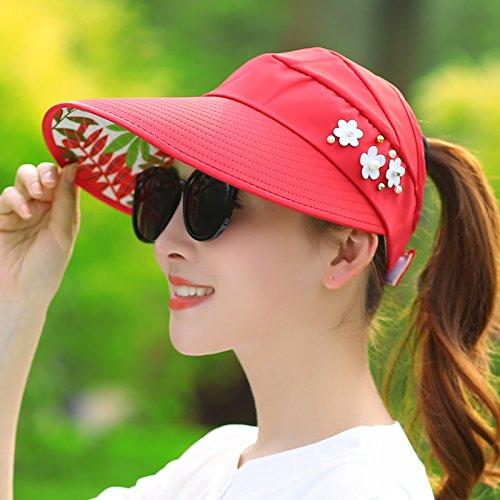 Upper-Des chapeaux peuvent être repliés de voyage de loisirs Sun Hat UV Red 1
