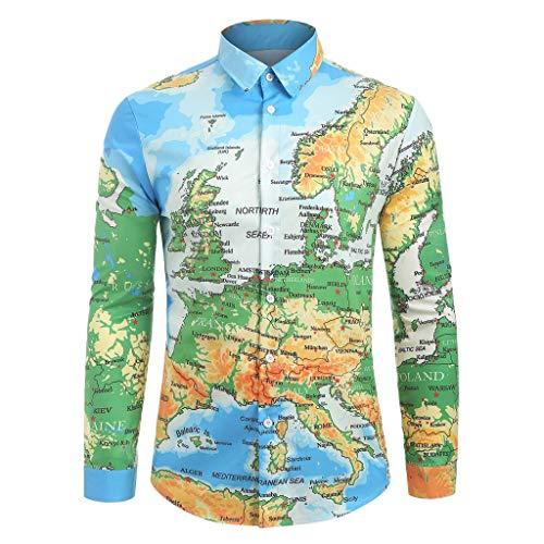 Fenverk T-Shirt Herren Langarm Slim Fit Hemden Persönlichkeit Oberteile Knopf Top Freizeithemd Holzfällerhemd Mode Langarm Hemden Männer Pullover Sweatshirts(Blau H,XL) -