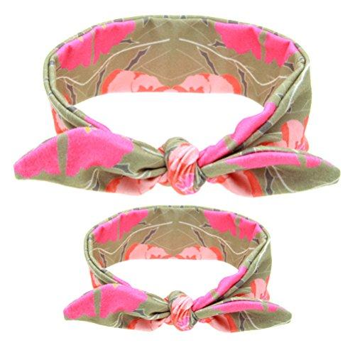 Frcolor Mama und Baby Stirnband Baby Mädchen Headwrap Knoten Haarband Haar Bogen Set (Licht Kaffee) (Baby-bögen Stirnband-set)