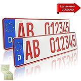 2 x EU KFZ Händlerkennzeichen Nummernschilder rote Kennzeichen Autoschilder ROT...