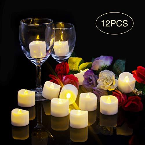 LED Kerzen Flackernde Flamme,Elektrische Kerzen,Elektrische Teelichter,LED Teelichter, Batterie Teelichter- Realistisch Flackernde LED-Flammen, Dekoration für Feier und Festivals [12 Stück, Warm-weiß]