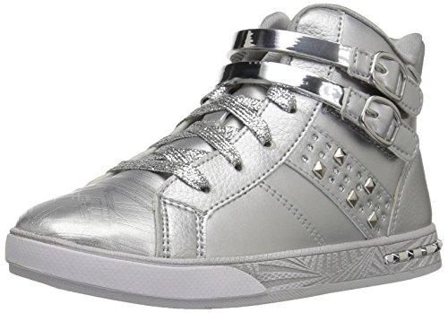 Skechers Kids Girls' Sassy Kicks Sneaker, Silver, 5 M US Big Kid