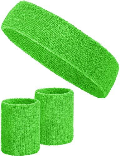 Balinco 3-teiliges Schweißband-Set mit 2X Schweißbändern für die Handgelenke + 1x Stirnband für Damen & Herren (Grün)