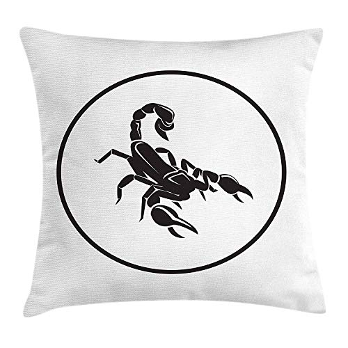 Zodiac Scorpio Throw Pillow Cushion Cover, Simplistic Design with a Circle and The Animal Figure in The Middle, Decorative Square Accent Pillow Case, 18 X 18 inches, Black and White