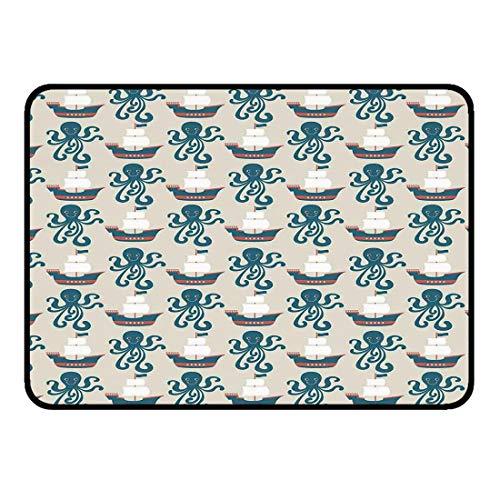 Ultraweiche Raum-Fußmatten Rutschfeste Fußmatte 50x80cm KinderKüche Badezimmer Dusche Badewanne Teppich Eingang im Freien Fußmatte Piratenschiff und Octopus Segelboot Segel Flagge Kunstdruck Sailor T