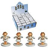 Annastore Schutzengel Weiss Silber mit Klebepunkt 24-TLG.Set Mini Engel glücksbringer Schutzengel klebepunkt zum verpacken mit klebepunkt glück
