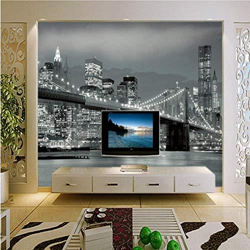 BHZJ 3D Fototapete, New York Bridge Hängebrücke Architektur Nachtsicht Tv Hintergrund Fototapete Wohnzimmer Benutzerdefinierte Tapete-200 * 140cm -