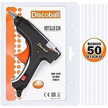 DISCOBALL Pistola de pegar + 50 piezas silicona Pegamento termofusible, Para Pequeñas Artesanías DIY y Reparaciones rápidas en el Hogar y la Oficina Pistolas de encolar , 20W Pistola de Pegamento