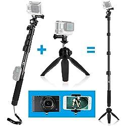 """CamKix Kit Palo Telescopico Premium 3in1 16"""" - 47"""" e Base Treppiede - Compatibile con videocamere GoPro Hero 5, 4, 3+, 3, 2, 1, e Smartphone - Sistema di Blocco Extra Forte e Stabile - Include un Palo Estendibile di Alta Qualità, Impugnatura Stabilizzante per Base Treppiede, Supporto GoPro, Porta Cellulare, Specchio per Selfie, VIte e Cordino Regolabile - Eleva il Tuo Dispositivo di Ripresa Video di oltre 47 pollici - Accessori Action di Qualità Premium CamKix"""