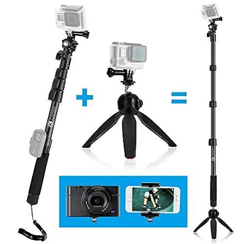 Pôle Télescopique de 16'' à 47'' et Base de Trépied 3 en 1 Premium de CamKix – Compatibles avec les caméras GoPro Hero 5, 4, 3+, 3, 2, 1, les appareils photo compacts et les Smartphones – Système de verrouillage extra résistant et stable – Sont inclus : un pôle extensible de haute qualité, une base de trépied avec poignée, un support GoPro, un support pour téléphones mobiles, un miroir pour selfies, une vis à ailettes et un cordon ajustable.