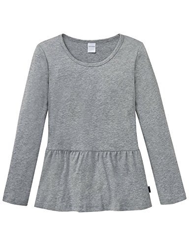 Schiesser Mädchen Schlafanzugoberteil Mix&Relax Shirt 1/1, Grau (Grau-Mel. 202), 176