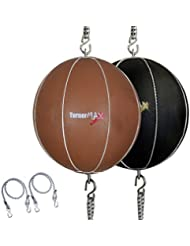 TurnerMAX Geniune Cowhide Leather Double End Ball Punching Ball with Elasticated Straps, Natural by TurnerMAX