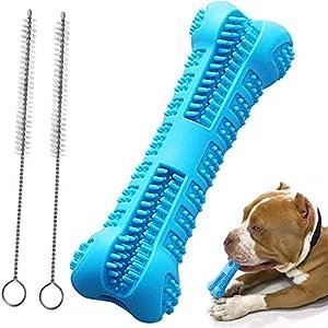 Ewolee Brosse à Dents pour Chien, Doggy Dental Care Dog Brushing Stick, Caoutchouc Naturel Non Toxique pour Dents de Chien Bâton de Nettoyage et 2 Brosse de Nettoyage Gratuite (Bleu)