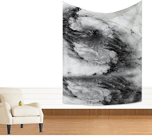 Schwarz Weiß Meereswellen Wandteppich Fantastische Ozean Welle Wandkunst Tapisserie Nautische Wandbehang Schlafzimmer Wohnzimmer Wohnheim Mandala Boho Hippie Wanddecke Strandwurf 59 * 51in (Bettdecken Bett Nautische)