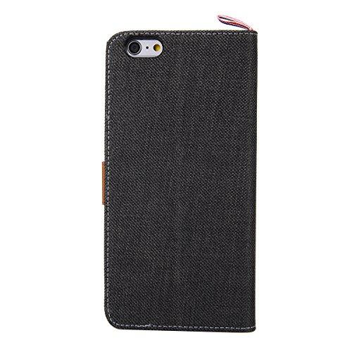 HB-Int 4 in 1 Semplice Cover per Apple iPhone 6 Plus Smartphone Tessuto Denim Copertura Accessori Book Style con PU cassa interna e Supporto Funzione + Pennino + Spina della Polvere + HD Protezione de Nero