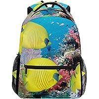 COOSUN Bajo el agua peces amarillos Casual Mochila Mochila Escolar bolsa de viaje Multicolor
