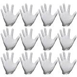 Sasairy 24 Stück von Box Baumwolle Handschuhe Puderfrei für den Draussen Medizinischen Heimgebrauch mit S/M/L/XL - Weiß (12 Paare)