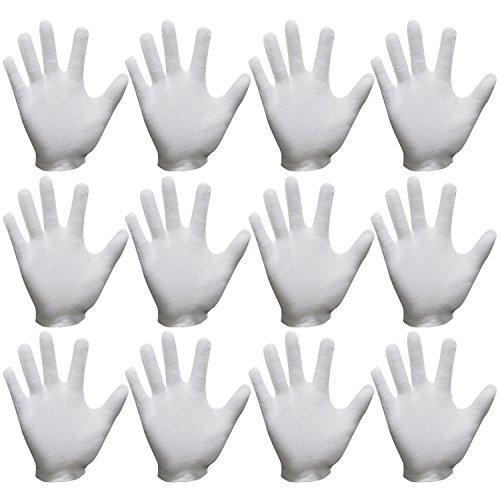 Sasairy 24 Stück von Box Baumwolle Handschuhe Puderfrei für den Draussen Medizinischen Heimgebrauch mit S/M/L/XL - Weiß (12 (Kind Schwarz Handschuhe)