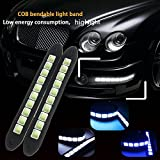 #9: amiciKart® Rubber 12V COB LEDs DRL Waterproof Daylight Driving Light For Car Vehicle Universal (Square White)