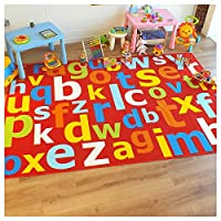 Superb Kids/Childs Rug Red Multi Coloured Large Alphabet Educational