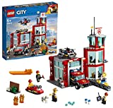 LEGO 60215 City Fire Station Building Set with Fire Toy Truck Water Scooter and Drone Firefighter Toys for Kids\', Multi-Colour