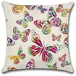 Cute Cartoon Colorful Mariposa fundas de cojín funda para sofá cama para salón o dormitorio decoración para el hogar, Excelsio personalizado cuadrado lino y algodón almohada fundas de cojín 45x 45cm/18x 18inch