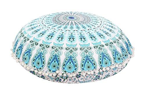 Funda para cojín con forma de mandala, tamaño grande, puff hindú, o