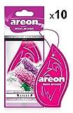 AREON Mon Ambientador Coche Colgante Lila Flor Olor Casa Colgar Perfume Original Púrpura Cartón Retrovisor Oficina 2D (Lilac Pack de 10)