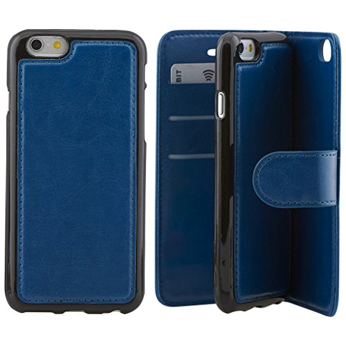 Price comparison product image High Quality Apple iphone 7 plus Case cover,  Apple iPhone 7 plus Blue Designer 2-1 Multi-function Detachable Magnetic 3 Card Slots Wallet Style Wallet Case Cover