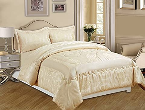 3 Piece Jacquard Quilted Bedspread Comforter, Pillow Shams,Luxury Bed Set+P & P (King, Betty Cream)