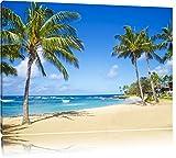 Wunderschöner Strand mit Palmen Format: 100x70 auf Leinwand, XXL riesige Bilder fertig gerahmt mit Keilrahmen, Kunstdruck auf Wandbild mit Rahmen, günstiger als Gemälde oder Ölbild, kein Poster oder Plakat