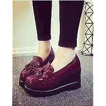 ZQ gyht Zapatos de mujer-Tacón Cuña-Cuñas-Mocasines-Exterior / Casual-Semicuero-Negro / Rojo , red-us8 / eu39 / uk6 / cn39 , red-us8 / eu39 / uk6 / cn39
