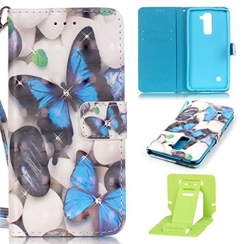 LG G4 Stylus2 LS775 Hülle,LG G4 Stylus2 ledertasche,LG G4 LS775 Hülle Glitzern,Ekakashop Bunt Creative Design Bling Glitzer Diamant Bookstyle PU Leder Wallet Case Schutzhülle Klapptasche Etui Magnet mit Standfunktion Kartenfächer und Taljereep für LG G4 Stylus2 LS775 [Blau Schmetterling] + 1x Kostenlos Ständer (Farbe zufällig)