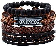 4 Pcs Leather Bracelet Believe for Men Wrist Band Handmade Vintage Beaded Bracelet Bangle Braided Cuff Adjustable