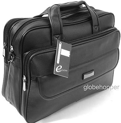 Globehopper Sacoche en cuir PU avec sangle et poignées pour ordinateur portable Noir mat 39,6 cm