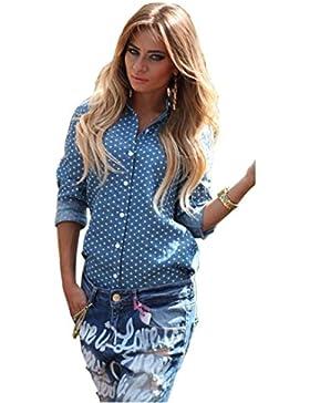 Camiseta de verano para mujer, RETUROM Spot largo manga camiseta blusa azul nueva mujer
