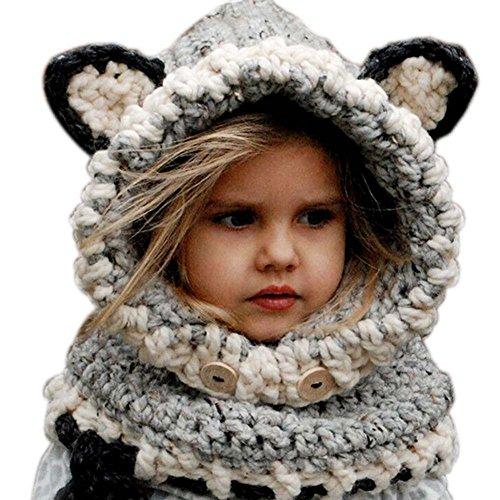 BellyLady Cute Baby Warm Wool Knitted Earflap Hat Scarf Beanie Hat Grey
