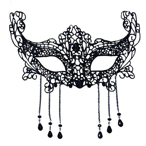 ke Party Dekoration Bühnenmaske sexy durchbrochen schwarz Spitze Halbmaske schwarz Masquerade ()