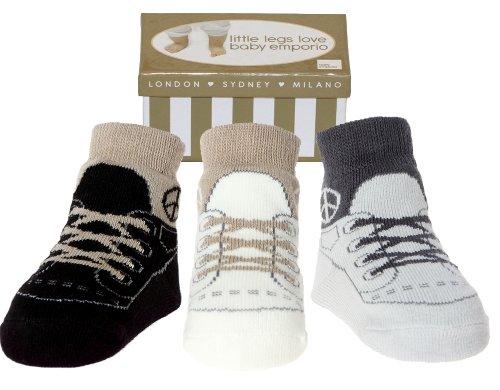 Baby Jungen Socken die wie Schuhe aussehen-3 Paar-Weicher Baumwolle-Neuborenes Geschenk