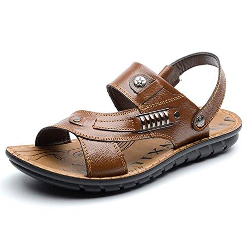 SHANGXIAN Scarpe in pelle Casual Atletico all'aperto sandali uomo nero marrone 43