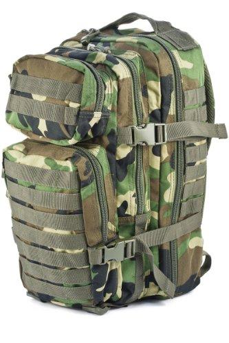 Mil-tec - zaino militare truppe di assalto americane, motivo woodland, capacità 20 litri